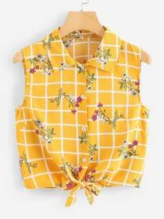 Floral & Grid Print Knot Hem Shirt