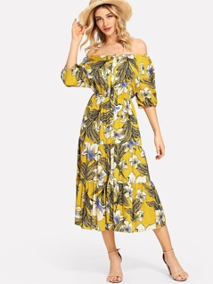 Bishop Sleeve Tropical Print Button Up Dress