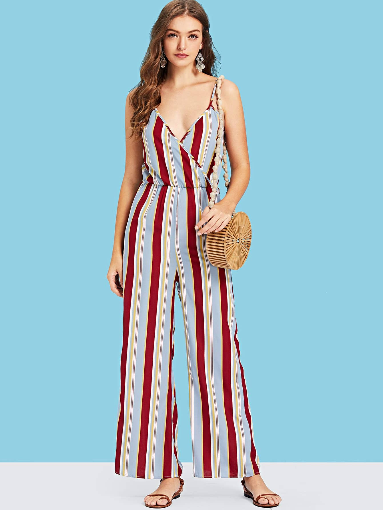 Surplice Neck Striped Cami Jumpsuit surplice neckline self tie cami jumpsuit
