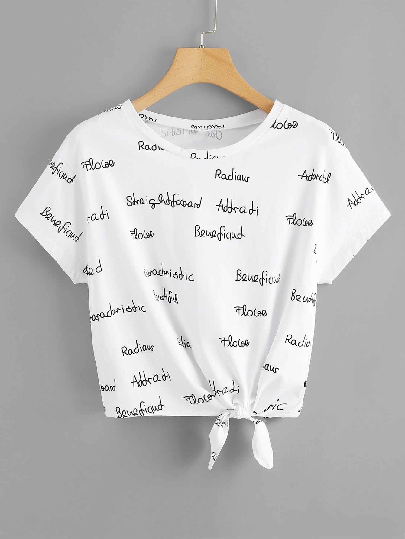 Купить Letter Print Knot Front T-shirt, null, SheIn