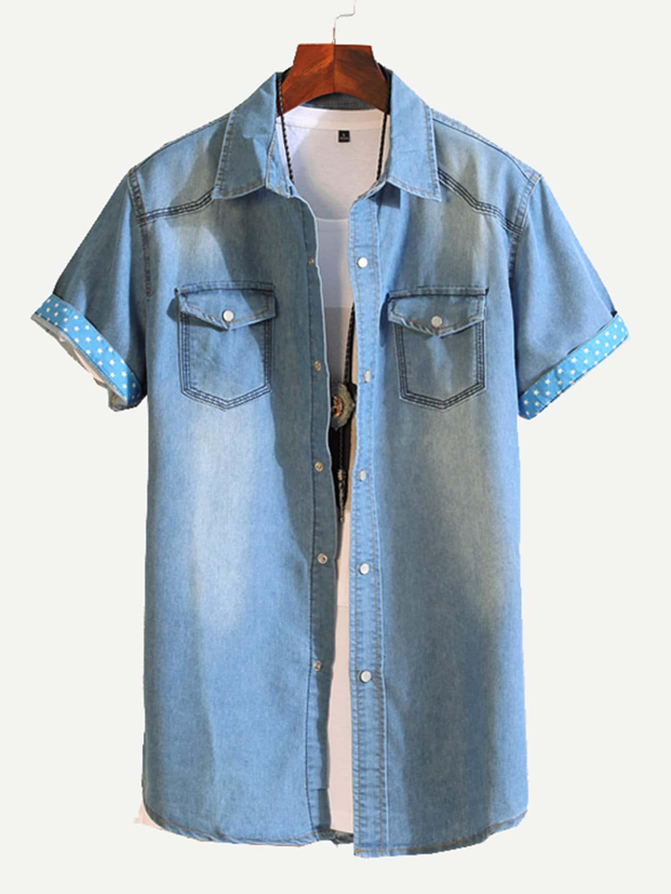 Men Roll-Up Sleeve Curved Hem Solid Blouse batwing sleeve pocket side curved hem textured dress