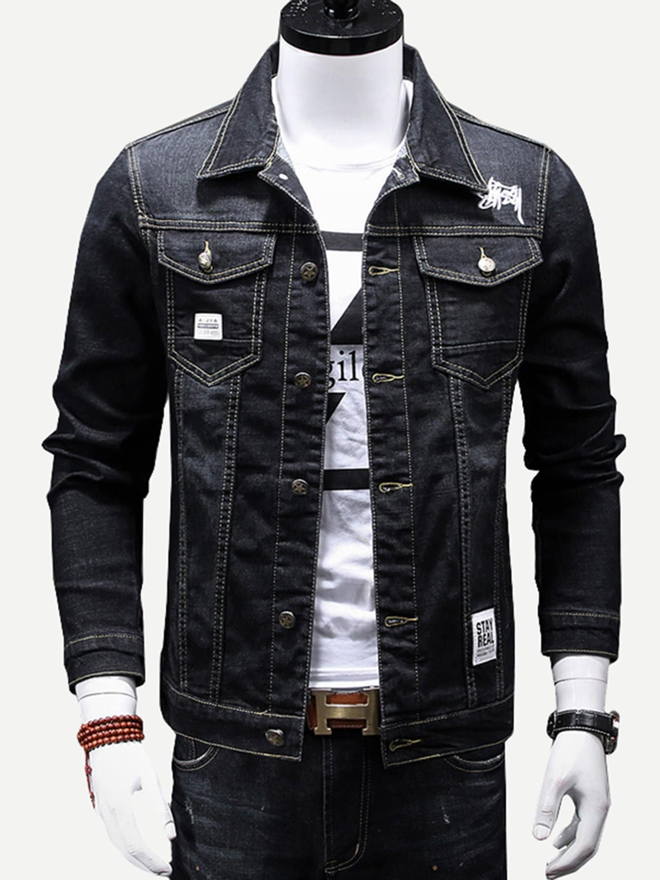 Men Embroidery Detail Patched Jacket men embroidery patched denim jacket