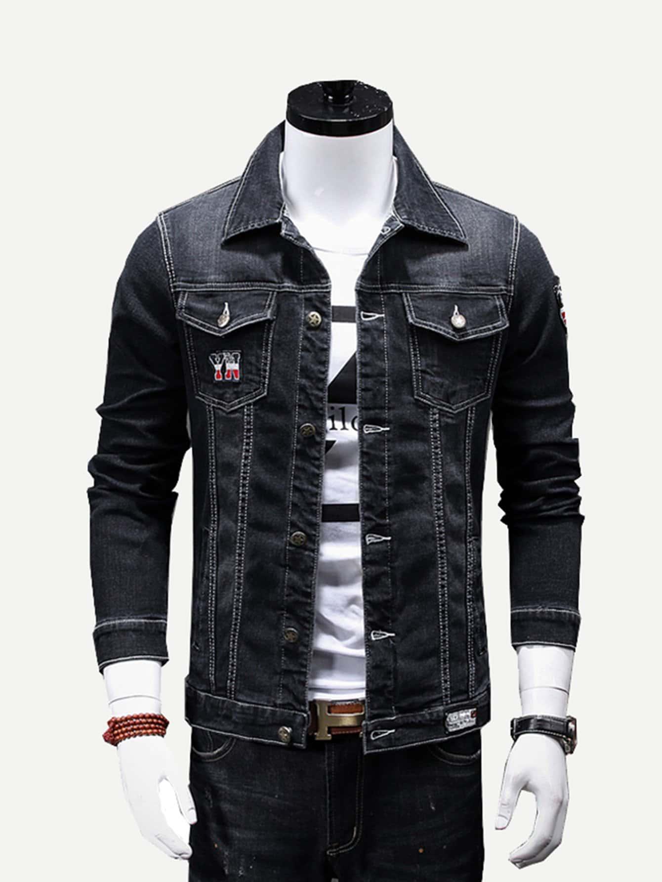Men Patched Detail Jacket men embroidery patched denim jacket