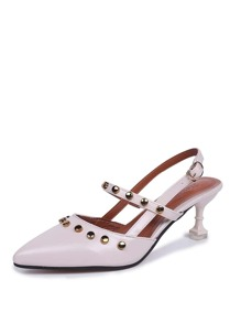 Pointed Toe PU Heels With Studded