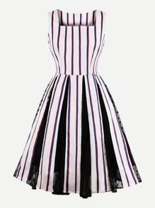 Striped Contrast Mesh Zip Back Flare Dress