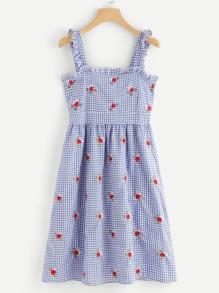 Plaid Frill Zip Back Dress