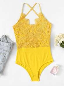 Lace Crochet Contrast Tie Back Bodysuit