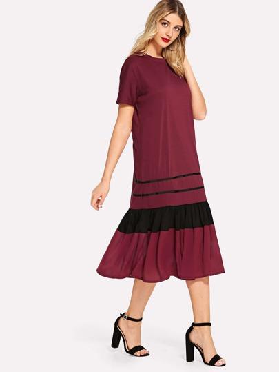 SheIn / Striped Pep Hem Midi Dress