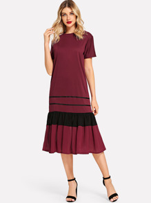 Striped Pleated Hem Dress