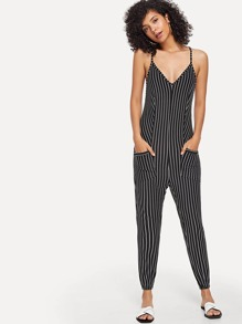 Dual Pocket Striped Jumpsuit