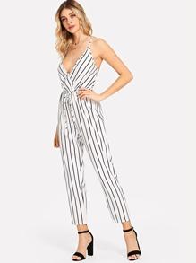 Deep V Neckline Striped Jumpsuit