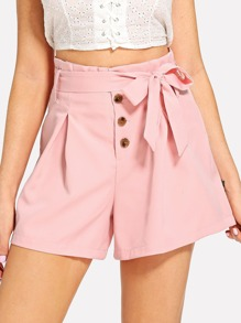 Single Breasted Self Tie Waist Shorts