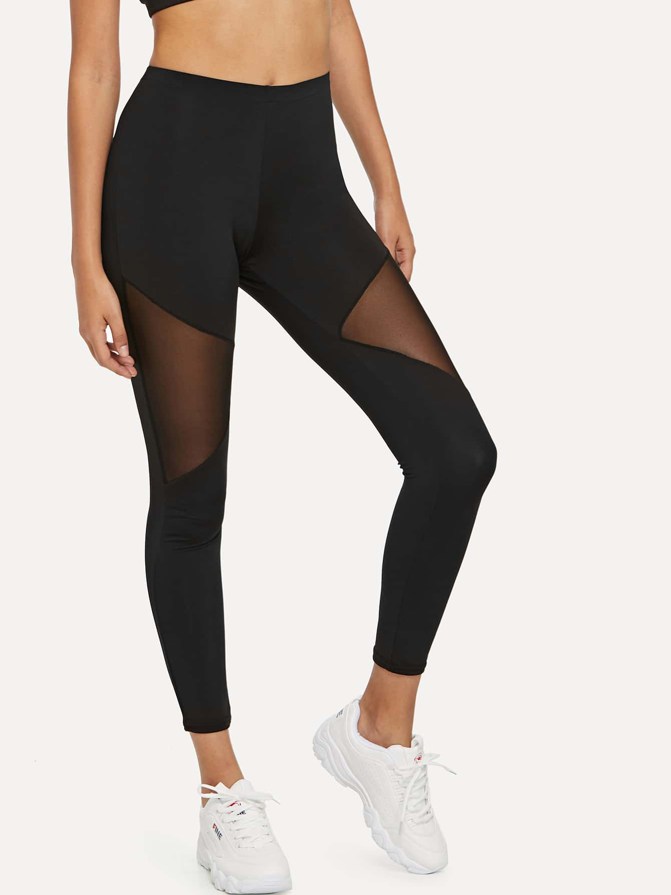 Sheer Mesh Panel Top With Leggings