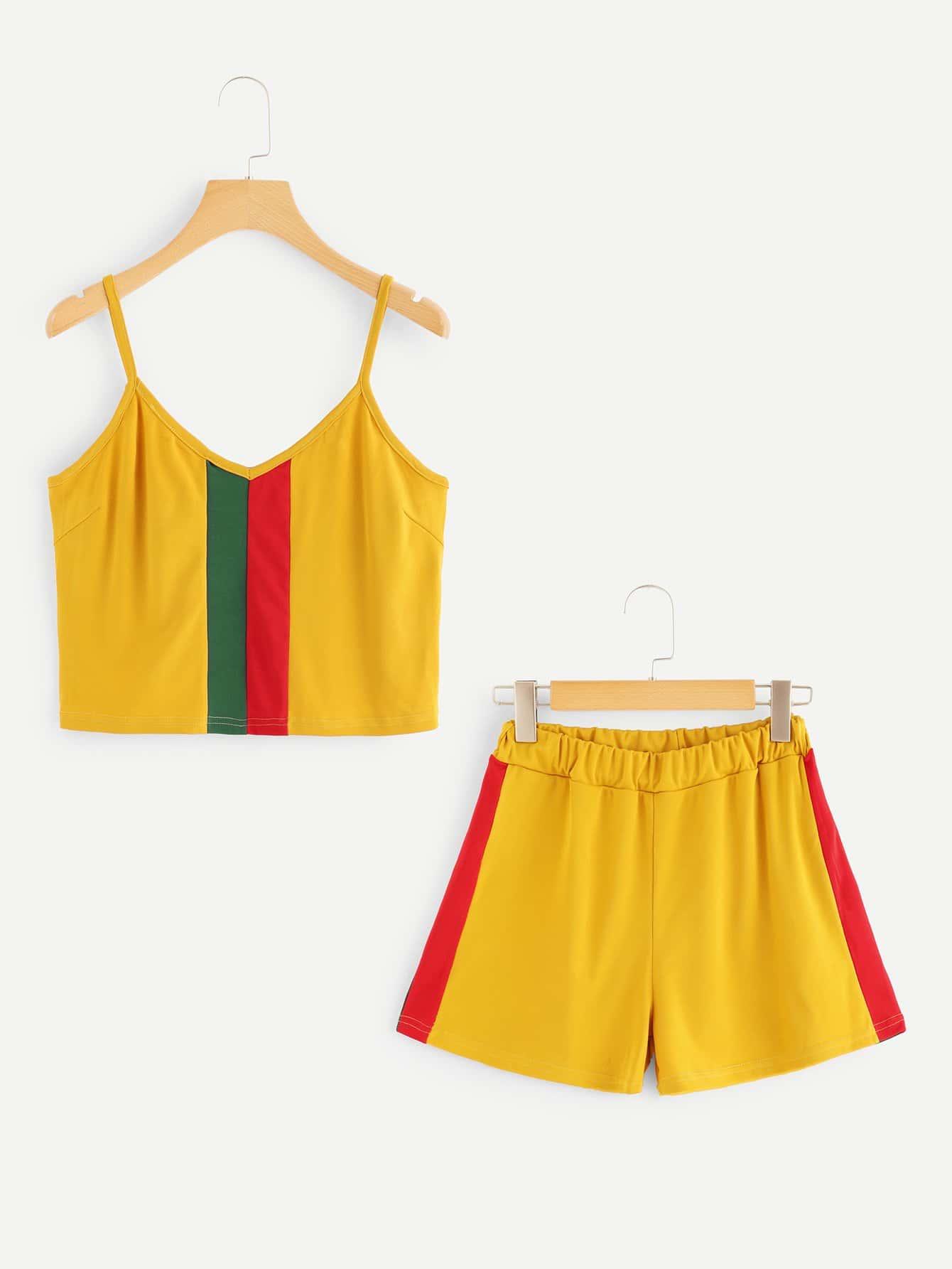 Color Block Crop Cami Top With Shorts black choker sleeveless crop top
