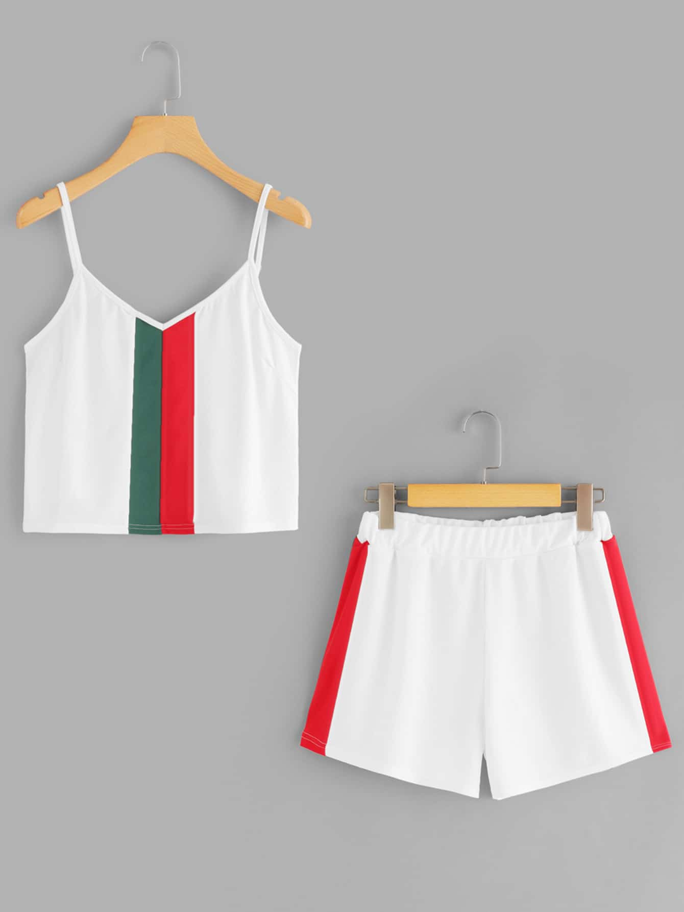 Color Block Crop Cami Top With Shorts pompom trim crop cami top with shorts