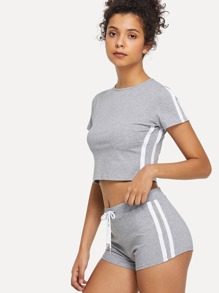 Striped Tape Side Crop Tee With Shorts
