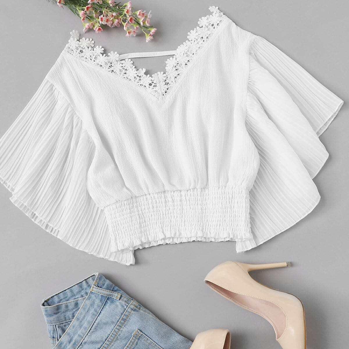 Белый Контрастные кружева Одноцветный Повседневный Блузы+рубашки фото
