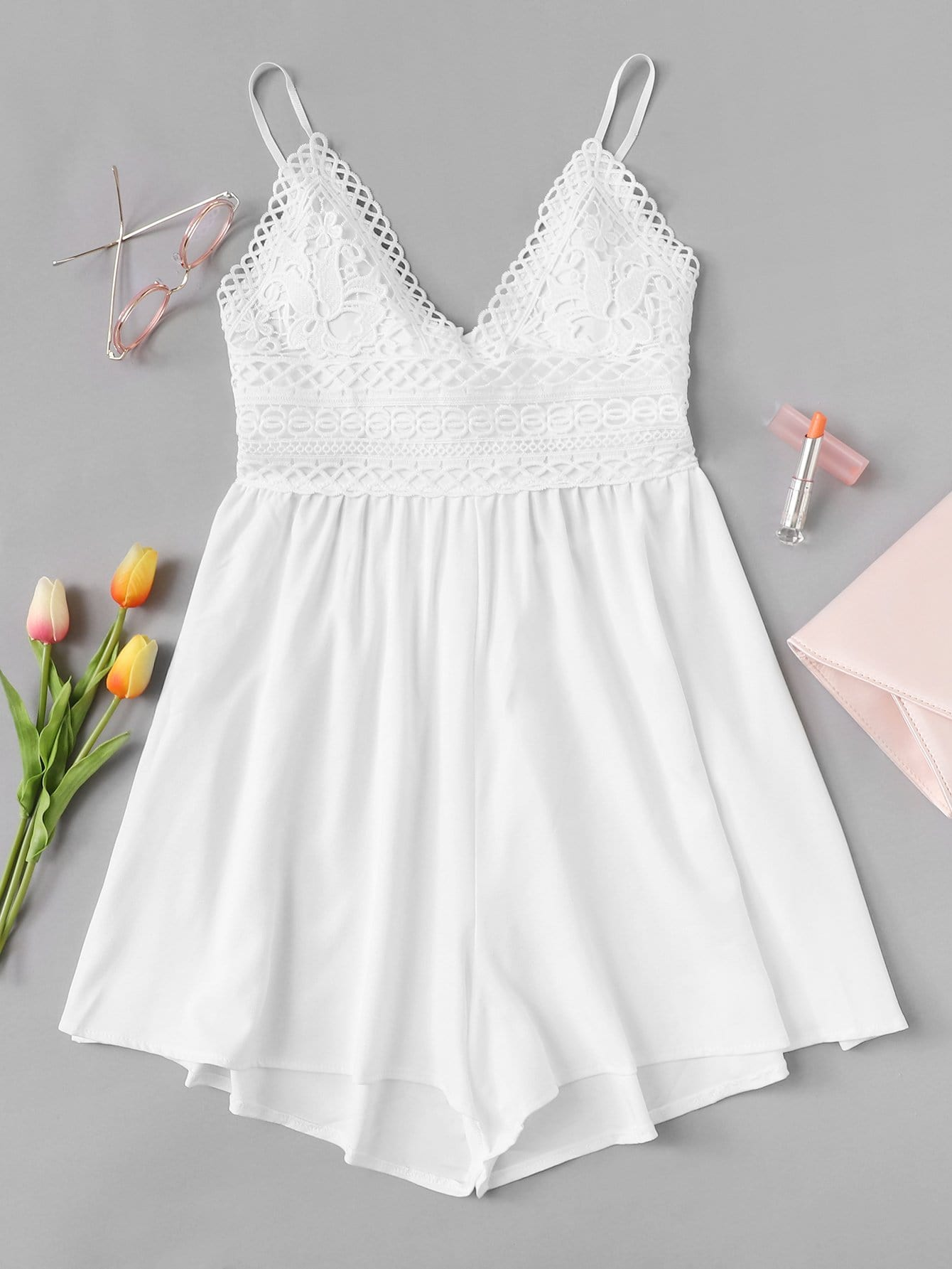 Lace Panel Knot Back Cami Romper