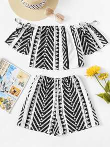 Off Shoulder Striped Top With Shorts ROMWE