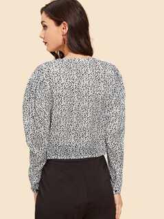 f79104a6 Band Collar Button Up Leopard Blouse | MakeMeChic.COM