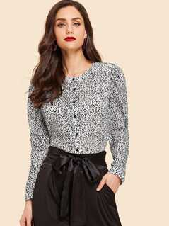 Band Collar Button Up Leopard Blouse