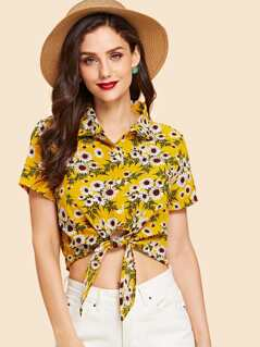 Knot Front Crop Daisy Blouse