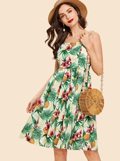 Tropical Print Pleated Panel Cami Dress