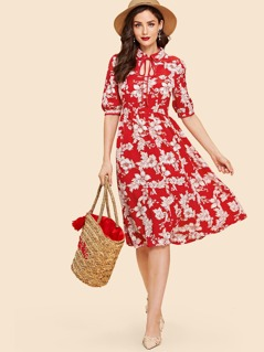 Keyhole Tie Neck Floral Fit & Flare Dress