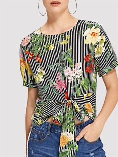 Mixed Print Knot Front Top