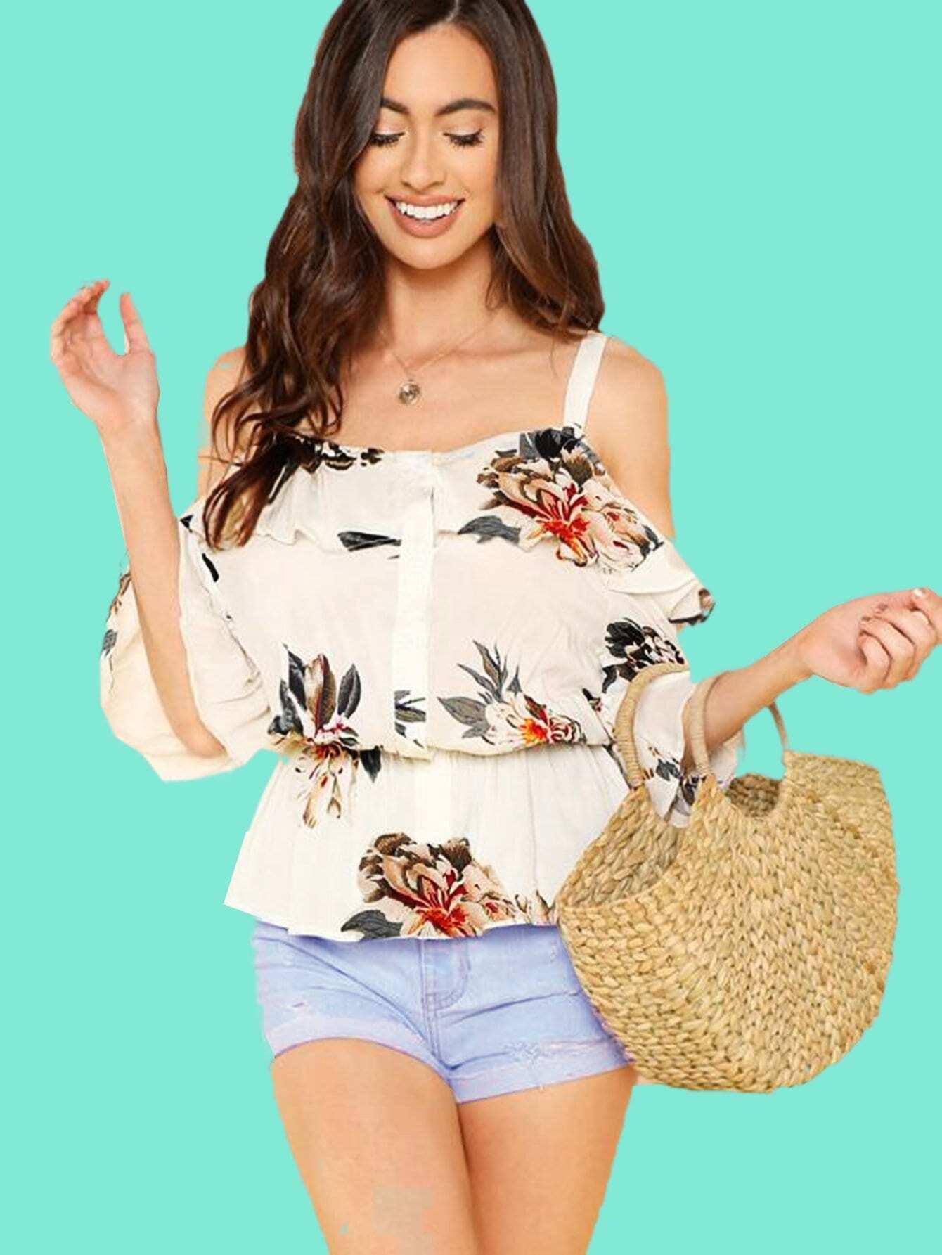 Купить Топ с открытыми плечами в цветочек с широкими рукавами, Jeane, SheIn