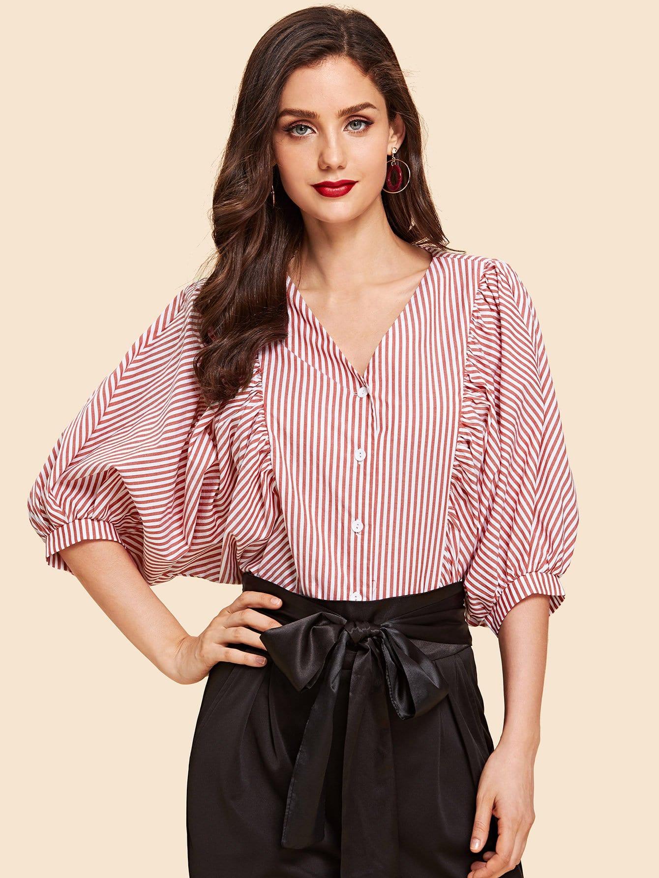 Купить Блузка с полосками и рукавами долман, Julie H., SheIn