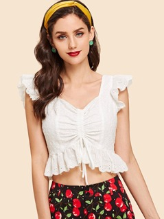 Ruffle Trim Eyelet Embroidery Shell Top