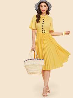 Bow Embellished Half Placket Pleated Dress