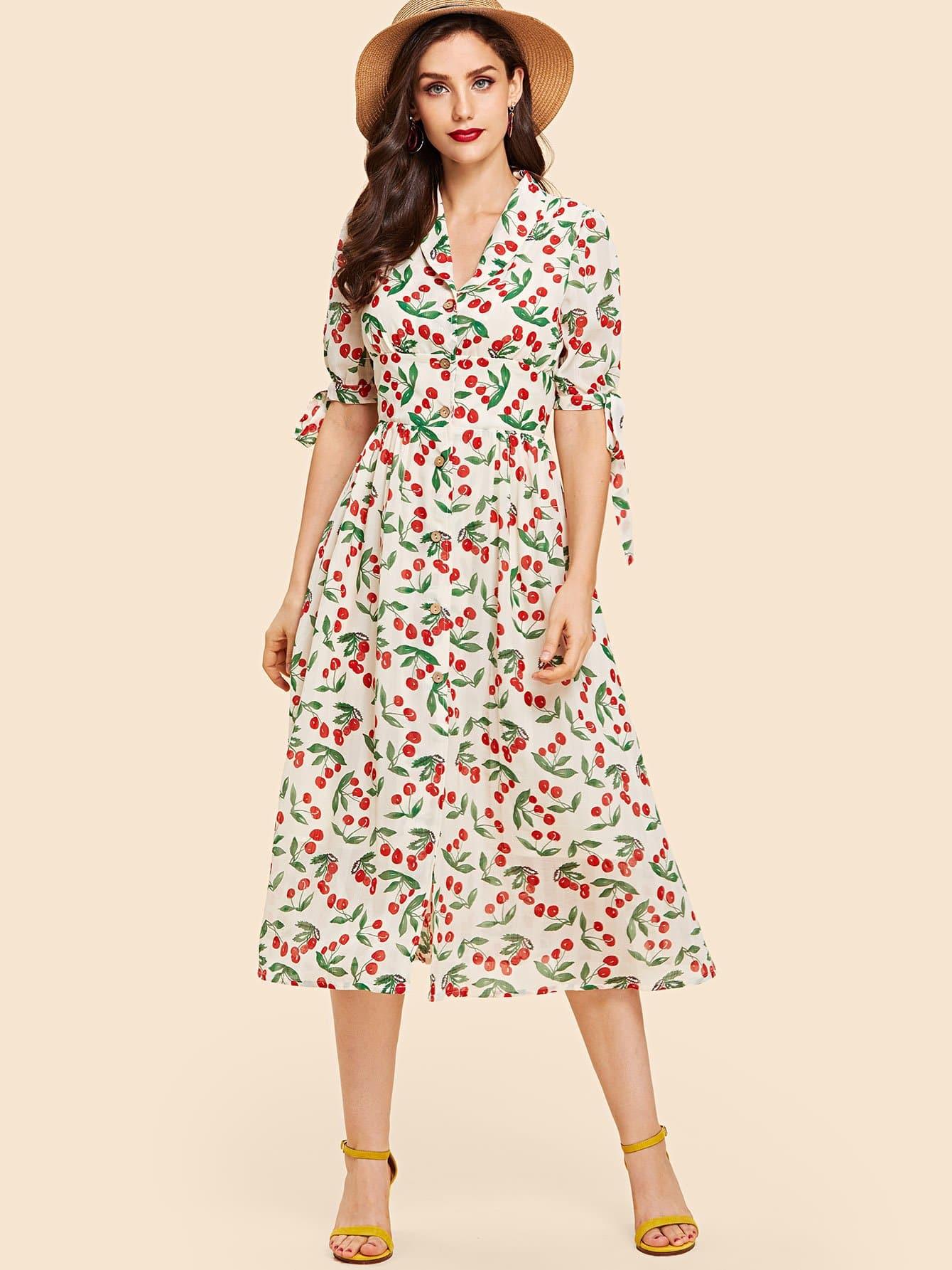 Купить Платье рубашка с принтом микс кафф, Julie H., SheIn
