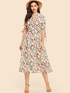 Knot Cuff Mixed Print Shirt Dress