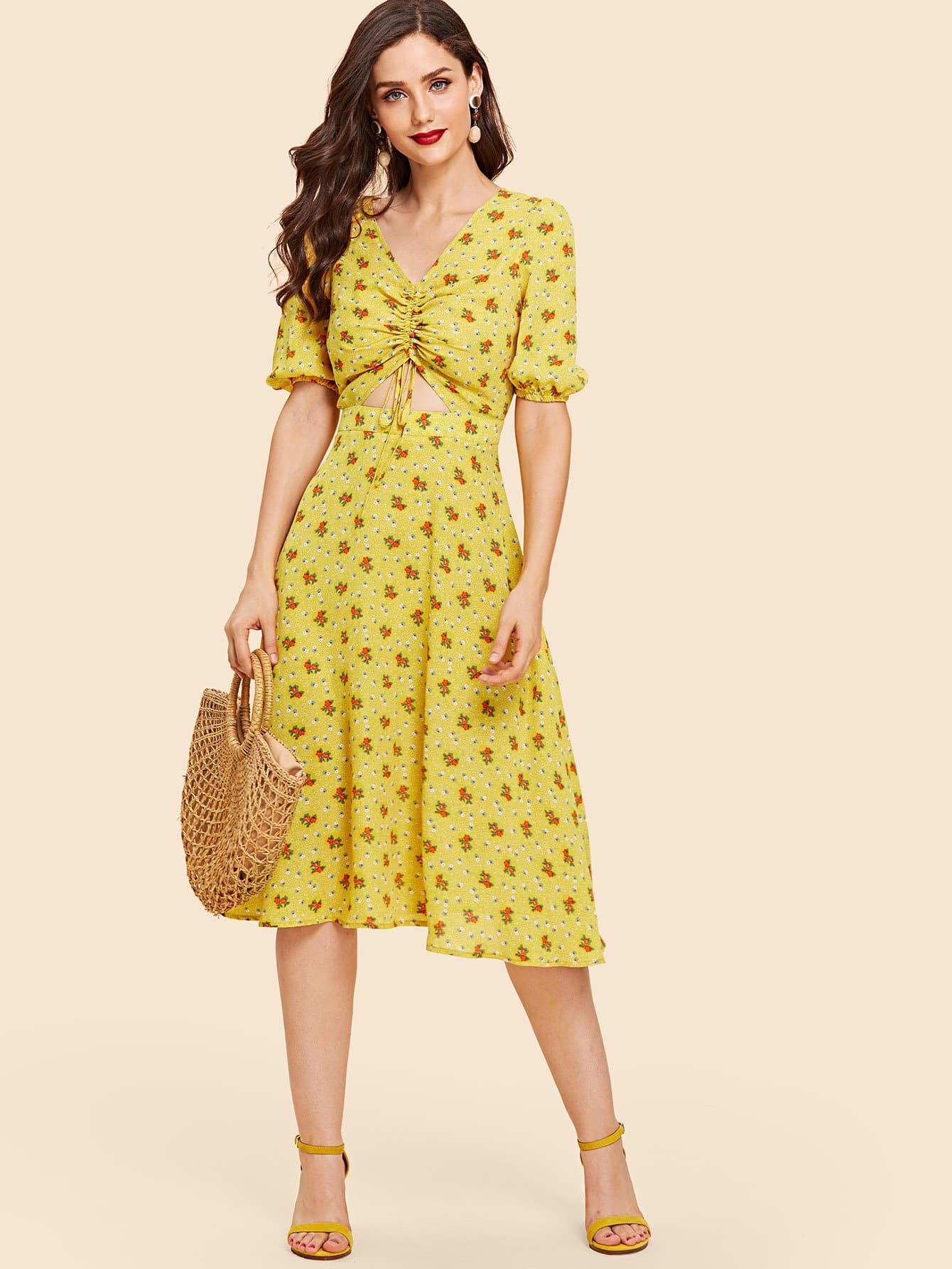 Drawstring Front Cutout Midriff Ditsy Dress knot front cutout midriff halterneck gingham dress