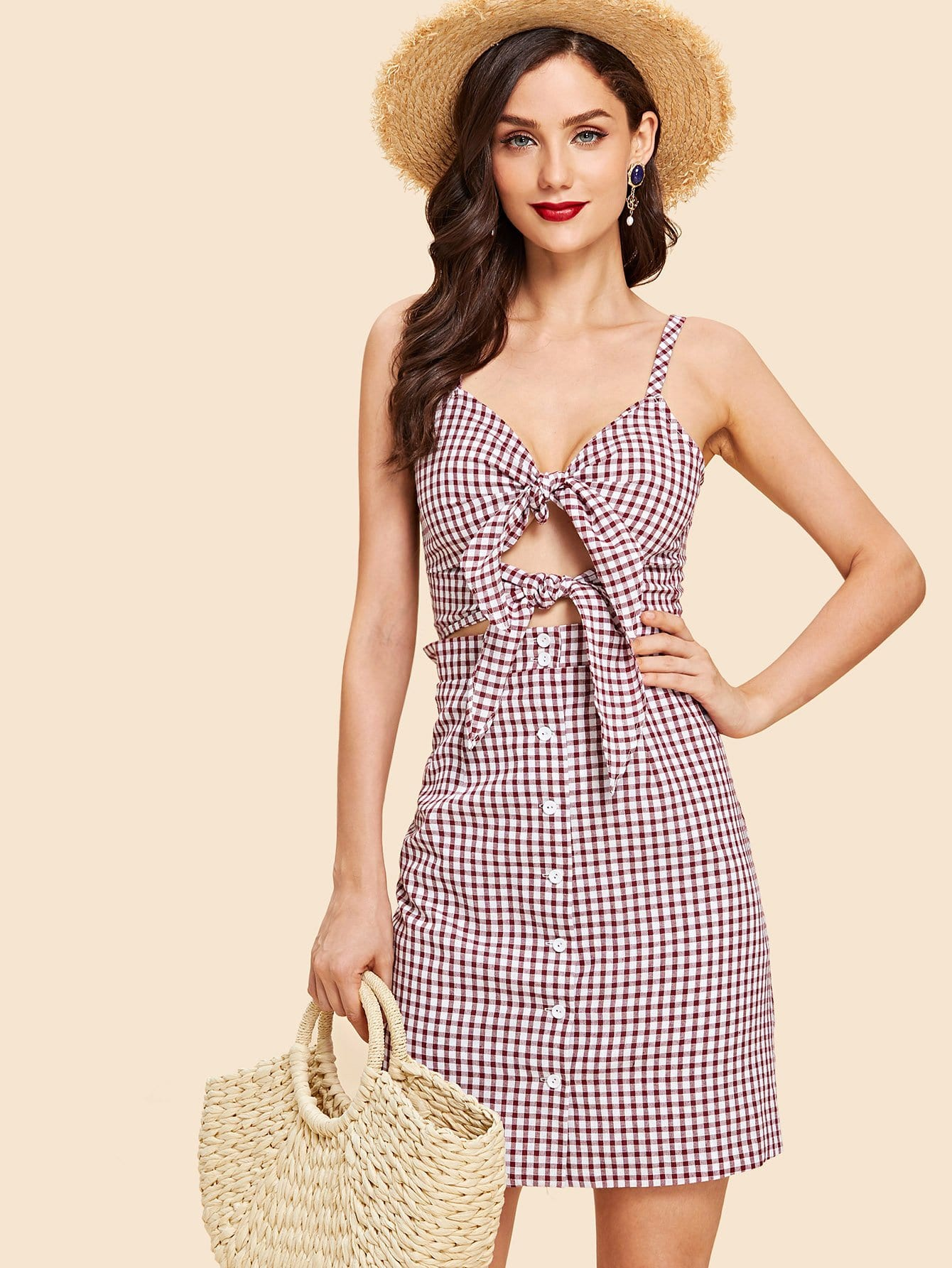 Knotted Cutout Front Button Up Gingham Cami Dress knot front cutout midriff halterneck gingham dress