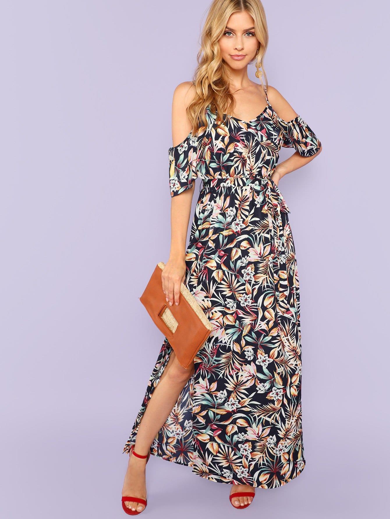 Купить Пластическое печатное платье из холодного плеча, Noelle Brown, SheIn