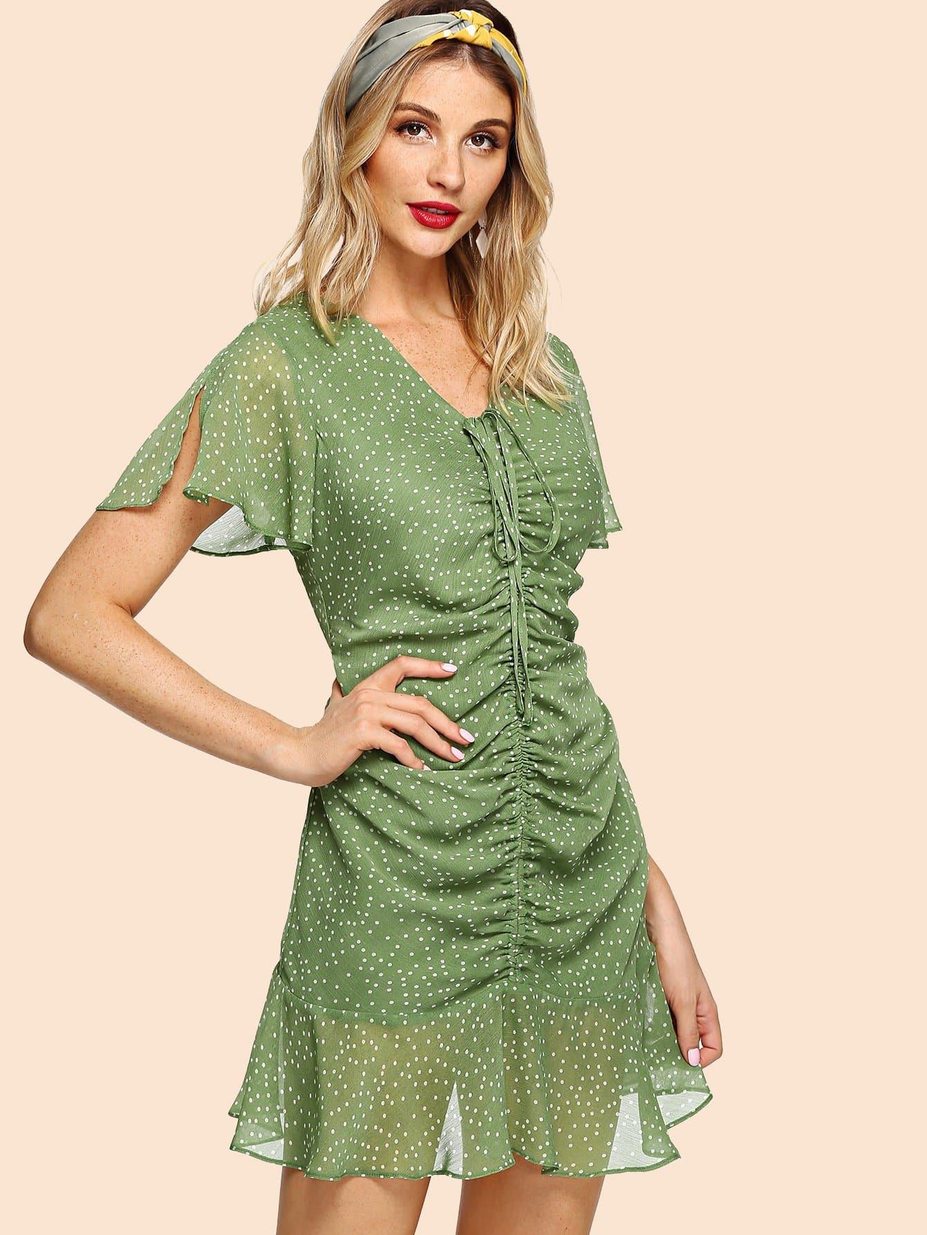 Купить Drawstring Shirred Front Polka Dot Dress, Julie H., SheIn