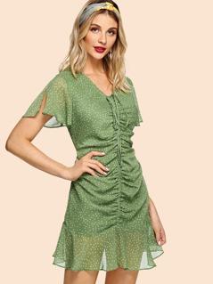 Drawstring Shirred Front Polka Dot Dress