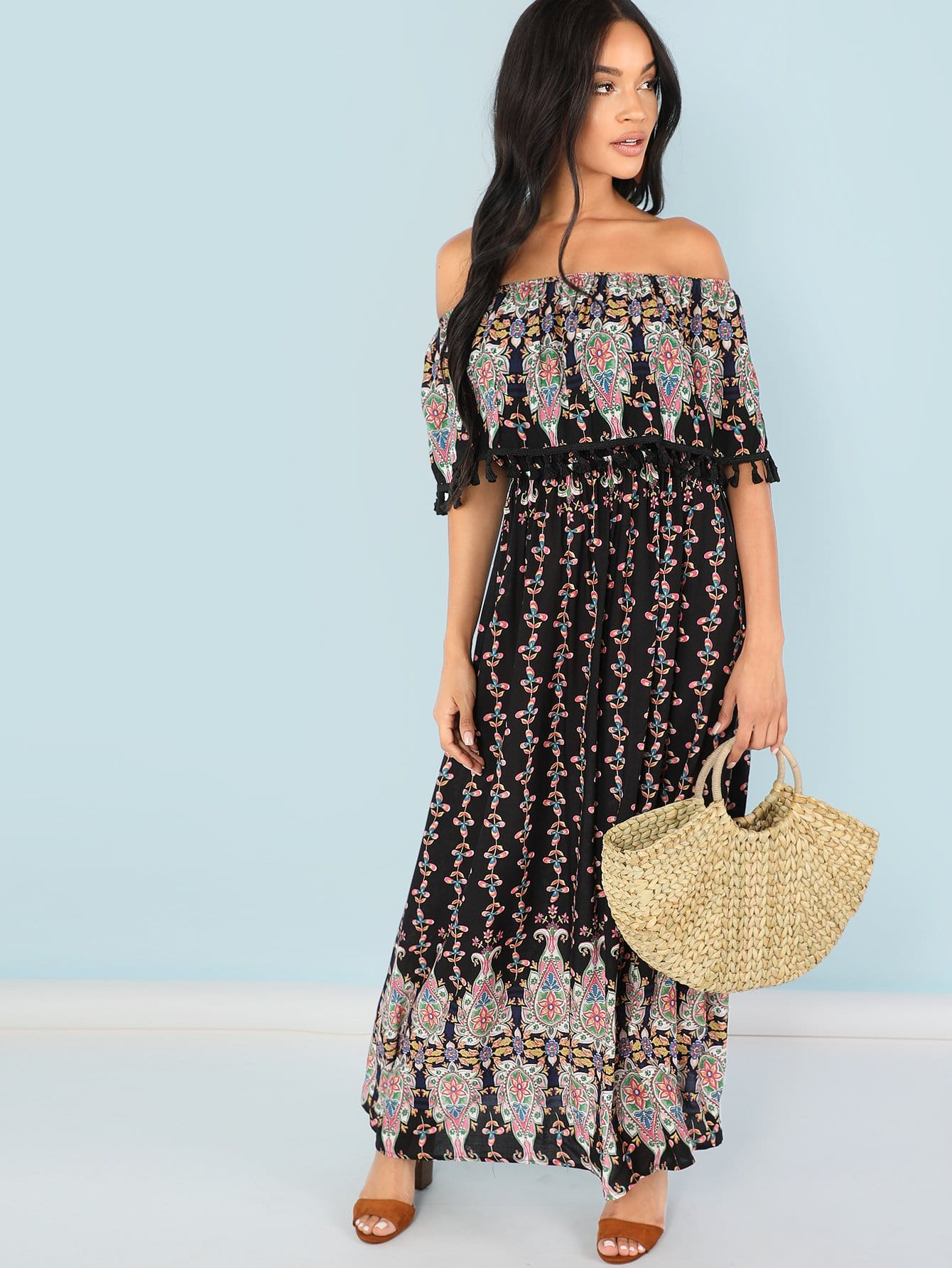 Tassel Embellished Flounce Foldover Front Tribal Dress
