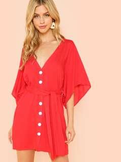 Button Front Belted V-Neck Dress