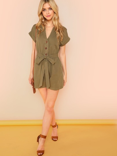Button Front Roll Up Sleeve Jumpsuit