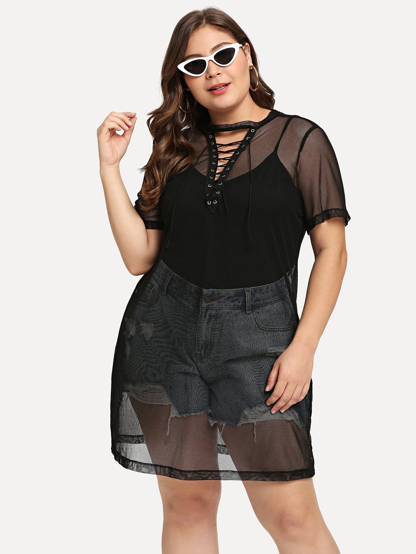 Grommet Lace Up Mesh Top striped grommet lace up dropped shoulder top