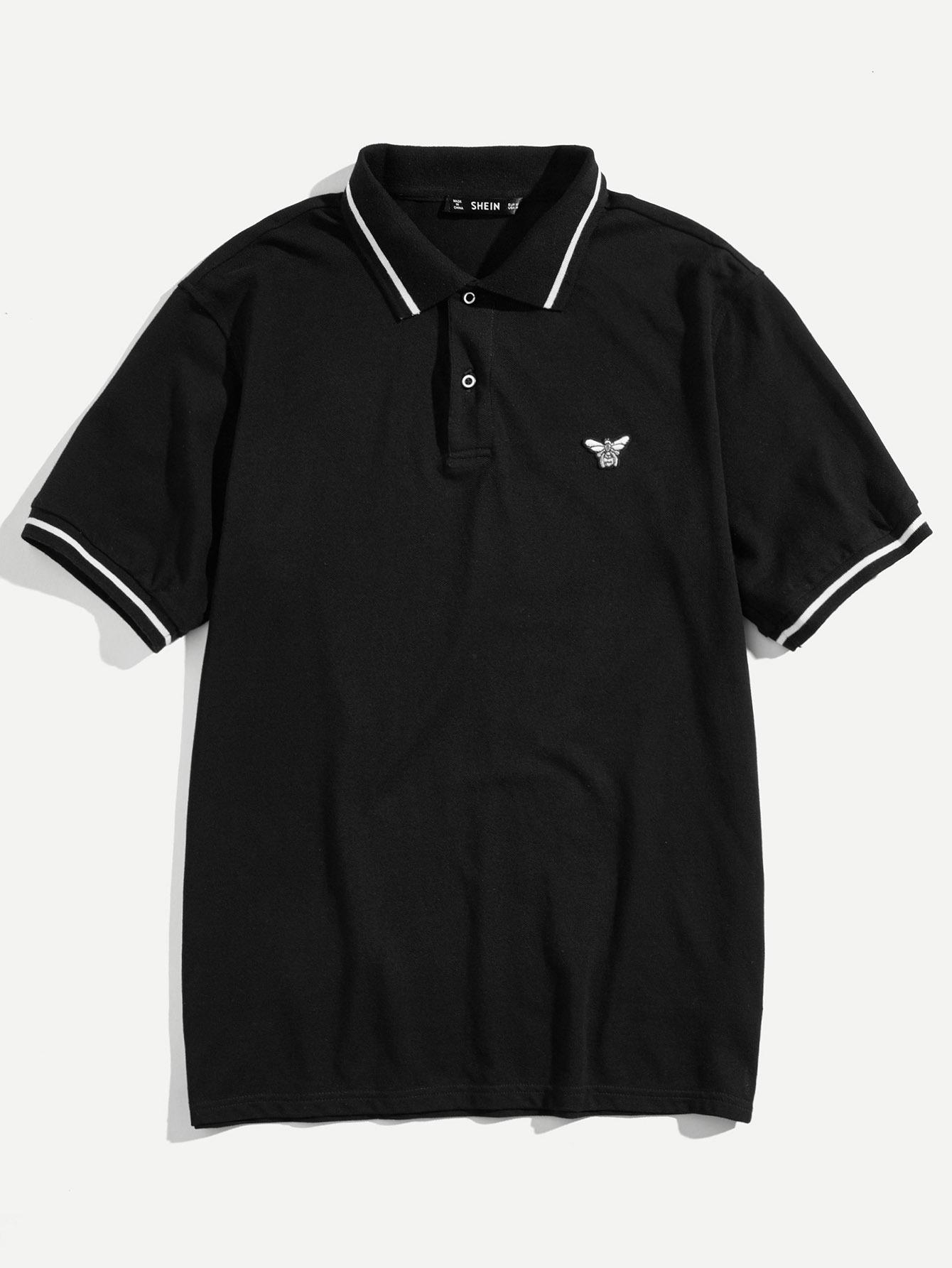 Купить Рубашка поло с вышивкой и полосками для мужчин, null, SheIn