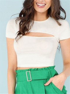 Cut Out Front Solid Crop Tee