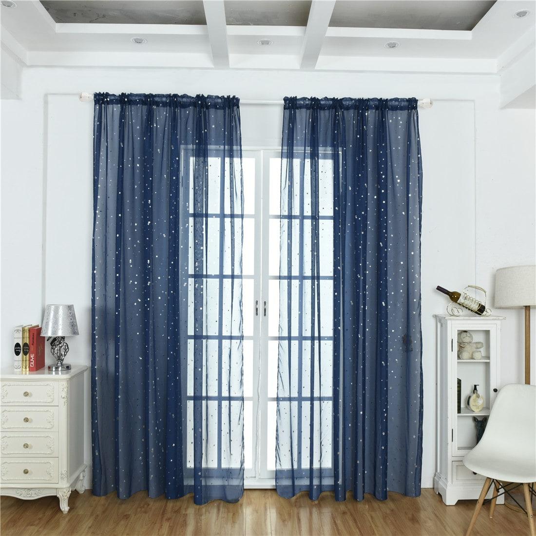 Star Decor Rod Pocket Sheer Curtain 1pc