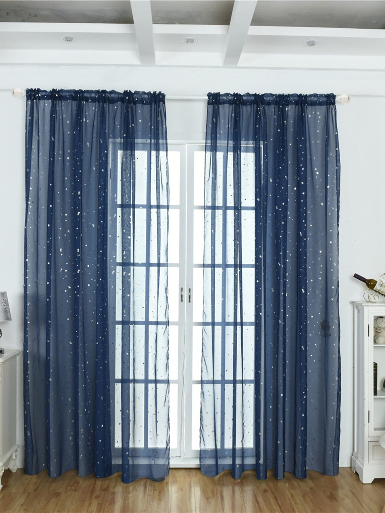 Star Decor Rod Pocket Sheer Curtain 1pc floral print rod pocket sheer curtain 1pc