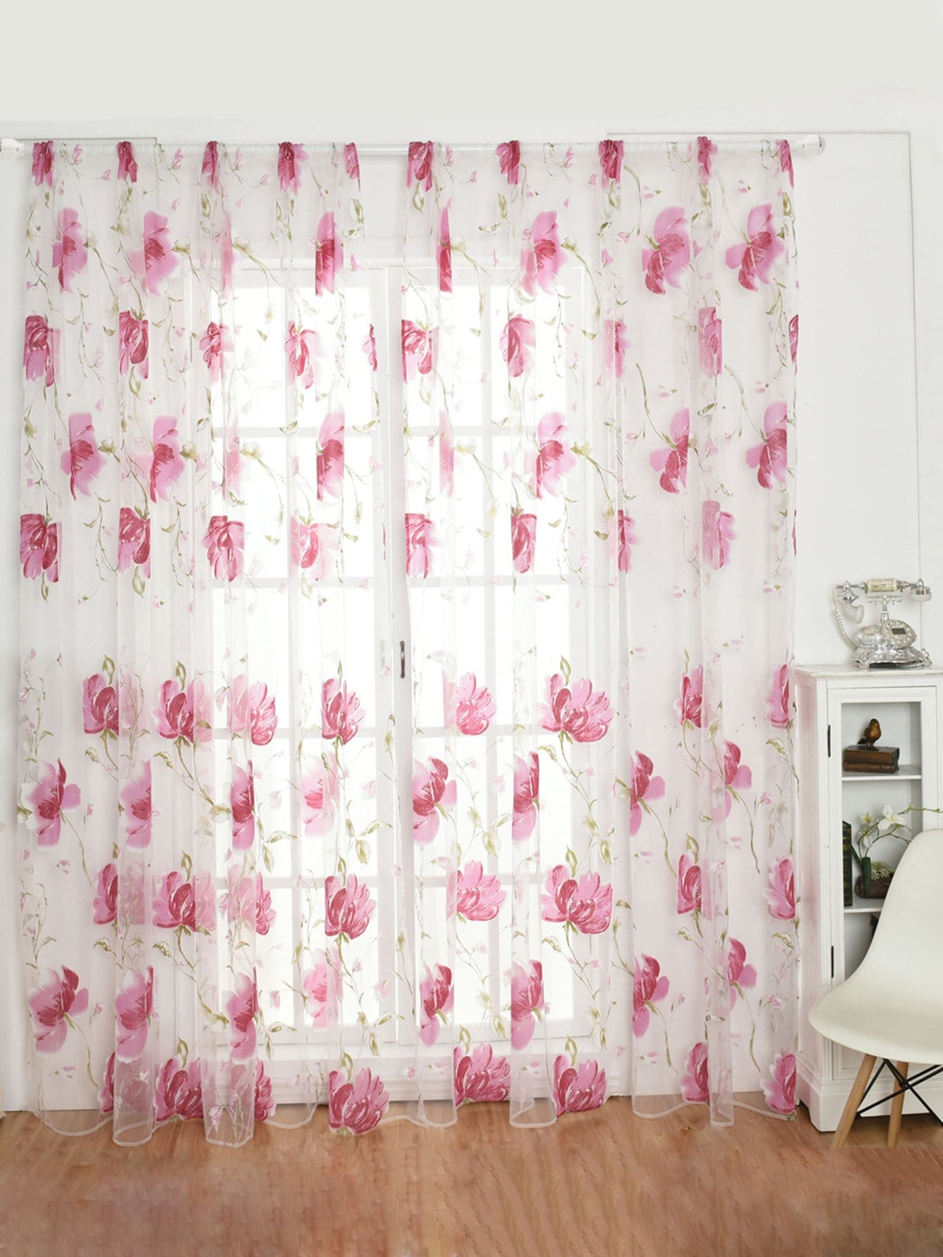 Floral Pattern Rod Pocket Sheer Curtain 1pc floral print rod pocket sheer curtain 1pc