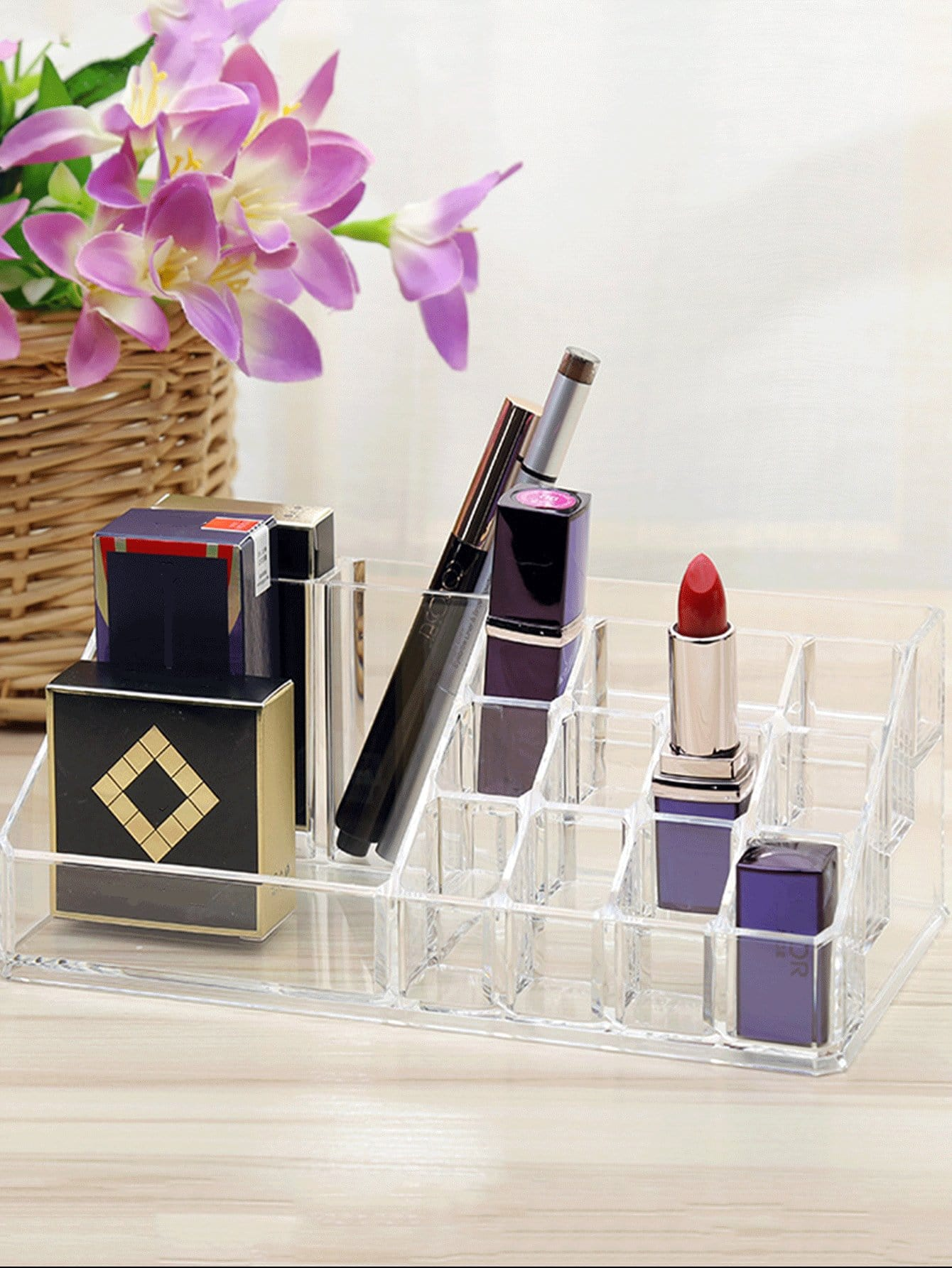 Multi Compartment Clear Makeup Organizer Grid Clear Makeup Organizer